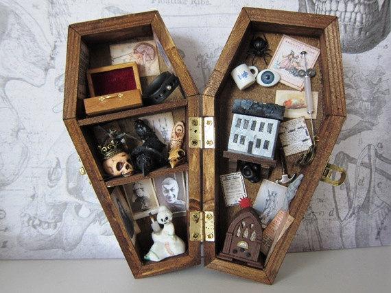 Dr. Hatchet's Sanatorium Miniature Coffin Shadow Box by Ah The Macabre