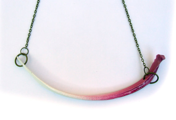 Pink and White Rib Necklace by Dance Macabre (I'm sensing a theme in these shop names)
