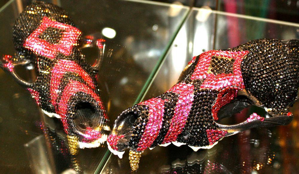 Hot Pink and Black Swarovski Crystal encrusted Coyote