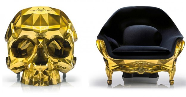 Gold Skull Chair from Harow